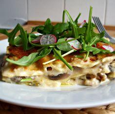 Lasagnes blanches aux champignons et poireaux – un écureuil dans ma cuisine