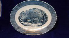 """VTG 1950's Royal China Currier & Ives Blue 13"""" Oval Serving Platter EUC / $34"""