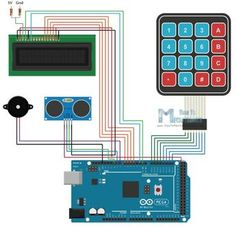 Arduino Home security Alarm system with keypad ultrasonic presence detector, LCD and buzzer. Arduino Bluetooth, Arduino Mega, Arduino Circuit, Servo Arduino, Arduino Beginner, Wireless Home Security Systems, Security Alarm, Models, Arduino Projects