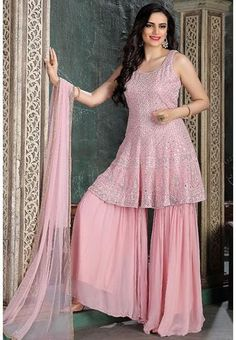 Pink Georgette Designer Gharara Salwar Suit Mirror Work SKN58804R Regular price £163.90 GBP Sharara Suit, Salwar Suits, Gharara Designs, Celebrity Gowns, Ethnic Outfits, Embroidery Suits, Pakistani Suits, Festival Wear, Indian Dresses