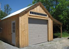 This one is an original design by JCS. Its (2) 10-lightprimed barn sash windows are both hinged to open out. Additional windows available for purchase can be placed anywhere in this design allowing extra light and enhanc- ing the spaciousness of this garage. The roofing mate- rial is corrugated evergreen metal. There is no floor to worry about rotting away. We recommend laying downa concrete slab. The 8x14 loft means plenty of room for additional storage.