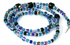 Blue and Purple Glass Seed Beaded Eyeglass Chain by nonie615