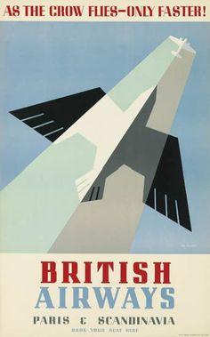 THEYRE LEE-ELLIOTT (1903-1988) BRITISH AIRWAYS / PARIS & SCANDINAVIA. 1938. Travel poster