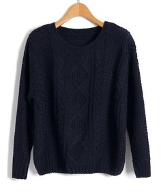 Navy Cable and Diamond Knit Sweaters from Chicnova