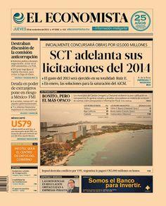 """""""SCT adelanta sus licitaciones del 2014"""". Portada de nuestra edición impresa. Jueves 28 de noviembre de 2013."""