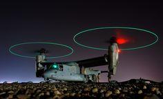 Osprey tilt rotor aircraft / Airplane At Night Osprey Helicopter, Military Helicopter, Military Aircraft, Bell Helicopter, Osprey Aircraft, Stol Aircraft, Fighter Aircraft, Fighter Jets, Air Force