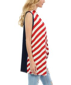 Look at this Red & Navy Sleeveless Cardigan on #zulily today!