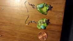 Chipped Seaglass Wirewrapped Earrings with Accent Bead by tehbard, $20.00