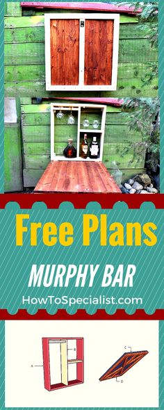 Learn how to build a murphy fold down bar - Easy to follow free plans and step by step instructions for you to build a fold down bar! #diy #woodworking #bar #outdoorfurniture