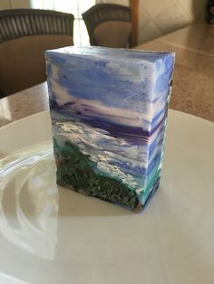 Don't you love the beach? Art soap made with Shea and jojoba oils.