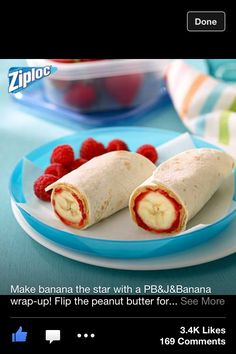 Banana peanut butter jam wrap (switch the peanut butter for Nutella to make school friendly) Cute Snacks, Snacks To Make, Lunch Snacks, Yummy Snacks, Healthy Snacks, Snack Recipes, Yummy Food, I Love Food, Good Food