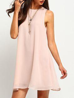 Buttoned Keyhole Back Swing Tank DressFor Women-romwe