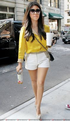 yellow, taupe and white in tailored shorts, the new neutrals.