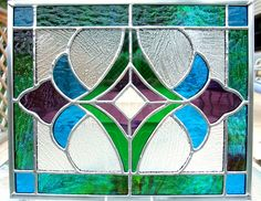 glass panels Turquoise blue, bright green and purple stained glass panel<br> Stained Glass Door, Stained Glass Panels, Stained Glass Projects, Leaded Glass, Mosaic Glass, Stained Glass Patterns Free, Stained Glass Designs, Mosaic Patterns, Art Nouveau