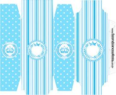Light Blue Crown in Stripes and Polka Dots  Free Printable Boxes for a Quinceanera Party. Quinceanera Decorations, Quinceanera Party, Printable Box, Free Printables, Dots Free, Box Invitations, Milk Box, Prince Party, Pillow Box