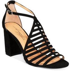Daya by Zendaya Soda Block-Heel Sandals ($99) ❤ liked on Polyvore featuring shoes, sandals, black, evening sandals, heeled sandals, black block-heel sandals, block heel shoes and black heeled sandals