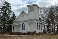 Shiloh GA Harris County Methodist Church Gothic Revival Architecture Flat Steeple Bell Tower Shingle Siding Picture Image Photo © Brian Brown Vanishing South Georgia USA 2012