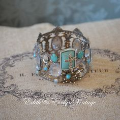 Statue Crown, Rhinestones, Santos, Vintage Jewelry Parts Findings, Tiara, Turquoise and Silver