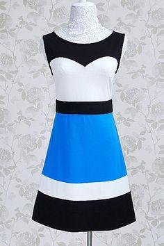 Color Block Zipped Sleeveless Mini Dress