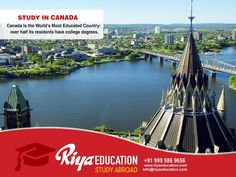 Canada is the World's Most Educated Country: Over half its residents have college degrees. Close to 15,000 degree programs at more than 100 universities… What do you want to Study in Canada? Click and send your enquiry http://riyaeducation.com/enquiry/ or call +91 9995869656 #studyabroad #studyinicanada #student #RiyaEducation