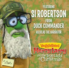 Veggie Tales: Si Robertson makes cartoon debut as Silas the Narrator.I hope this is true. Bella and Connor love veggie tales and Bella loves duck dynasty! Veggie Tales Birthday, Christian Stories, What The Duck, Duck Commander, Veggietales, Duck Dynasty, Christmas Lights, Cute Kids, Veggies
