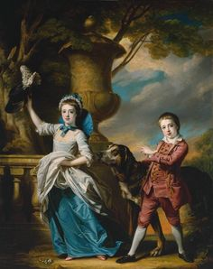Francis Cotes 1726-1770 Anna Maria Astley, Aged Seven, and her Brother Edward, Aged Five and a Half 1767  *** stances are fab