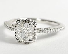 #Cushion Cut Halo #Diamond Engagement Ring in 18K White Gold. http://www.jangmijewelry.com/