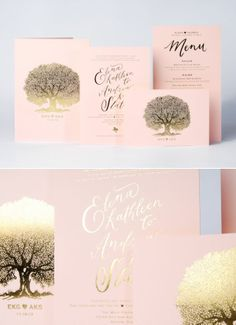 I love trees.  This one is beautiful on their invitation suite, but not sure if it works with our theme.  I do like this lettering