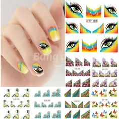 BLE Eye Butterfly French Nail Art Tips Water Transfer Decals Sticker (15 CNY) found on Polyvore