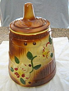 Vintage American Bisque butter churn cookie jar for sale at More Than McCoy in the Pottery/American Bisque category.