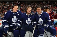 Phaneuf, Kessel, and Lupul at the 2012 NHL All-Star Skills Competition. I'm assuming there's a perfectly reasonable explanation for the placement of Kessel's hand on Phaneuf's thigh. Phil Kessel, Hockey News, Hockey Baby, Jonathan Toews, Toronto Blue Jays, Toronto Maple Leafs, Montreal Canadiens, Nhl, All Star