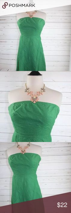 """J. Crew Size 2 Green Embroidered Strapless Dress You are looking at a women's J. CREW long green strapless dress size 2. Be the envy of everyone with this green summer beauty. This dress is so pretty and free flowing. You get the necklace pictured with this dress free with purchase. Made of 100% cotton. In great condition!  Measurements -   34"""" - Shoulder to bottom 15"""" - Armpit to armpit  Comes from a smoke free and pet free home. Visit my shop for more great deals! Please message me if you…"""