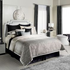 Black, Gray and White Bedroom. Touch of bling | Jennifer Lopez bedding collection Jet Setter Bedding Coordinates