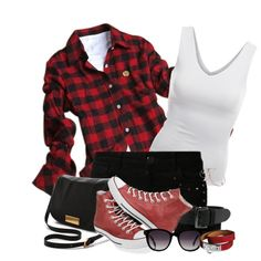 """""""Flannel and Shorts"""" by cavell on Polyvore"""