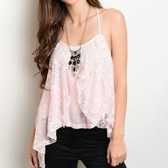 Gorgeous baby pink sharkbite hem lace tank! Racerback with gorgeous cascading lace- super pretty on! Tops Tank Tops