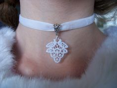 White Velvet Ribbon Choker Necklace with Lace by SparkleBaubles, $4.50