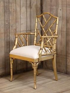 Maxine Dining Arm Chair in Antique Gold Leaf Mahogany Wood Frame with Faux Bamboo Detail in Antiqued Gold Leaf with Upholstered Seat Also Available in Slate Grey or Smokehouse Finish as Shown in Photos Below -- $1195.