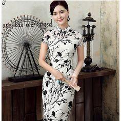 Lovable Flocked Velvet Black Flowers Qipao Cheongsam Dress - Qipao Cheongsam…