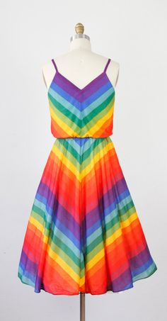 Bold Rainbow Chevron Stripe Sun Dress by salvagelife on Etsy,