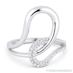 The featured ring is cast in 14k white gold and showcases a fancy design made up of interlocking loops and pave-set round cut diamonds.