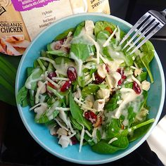 Organic Baby Spinach, Grilled Chicken Raised Without Antibiotics, Monterey Jack Cheese, Almonds and Cranberries, Creamy Honey Mustard Dressing! So delish <3  #Sponsored