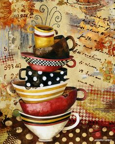 Coffee Cups Divine art print. Available as an 8x10 and 11x14 in the Studio Petite shop. Artwork by Jennifer Lambein. #coffee #art #collage