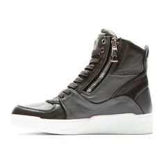 DOLCE & GABBANA > Grey Panelled Leather High Top Sneakers