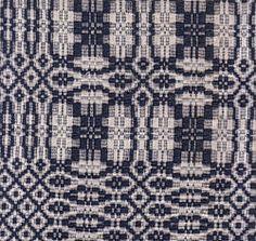 Overshot pattern, dark blue wool and natural cotton