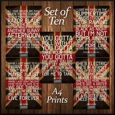 Set of 10 Oasis Britpop Indie Music Vintage Typography Word Art Poster Print Mirrors With Chains, Party Rules, Britpop, Vintage Typography, Indie Music, Word Art, Oasis Quotes, Poster Prints, Posters