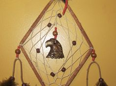 Dream Catcher-small diamond ... Love this one it has my eagle totem in the center! Made by Teressa of TeressasTreasures on Etsy.
