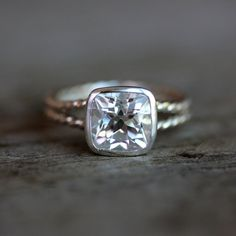 Size 7 Ready To Ship, Rapunzel Ring in White Topaz and  Tarnish resistant Sterling Silver