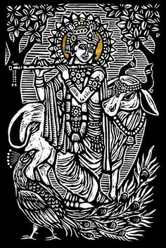 Brian Reedy ~ Krishna ~ Woodblock Print, 12 x 18 inch, printed on 20 x 26 inch rice paper with deckle edge and gold leaf