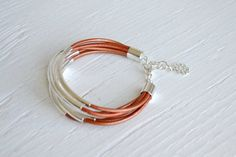 Copper Leather Cuff Bracelet with Silver Tube Beads by BALOOS