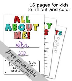 All About Me - Back-To-School Printable Booklet
